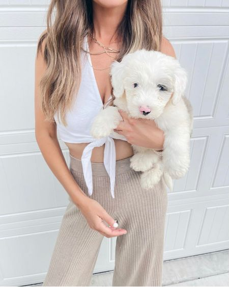🐶🐶. These comfy wide leg pants are an amazon fashion find!  I am wearing xs in top and bottom.  Wear the pants with a tee or cami as loungewear.    #LTKunder50 #LTKstyletip #LTKtravel http://liketk.it/3kMSp #liketkit @liketoknow.it
