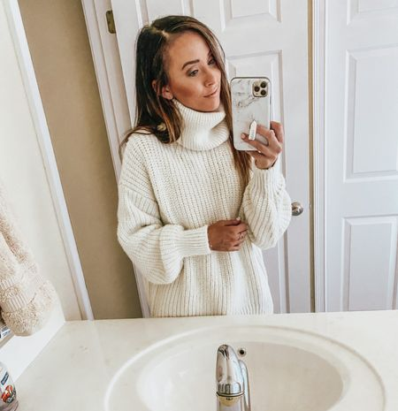 chunky knit turtleneck sweater, tunic sweater, chunky knit 🤍 enjoy 25% off one item at h&m today  #LTKsalealert #LTKunder50