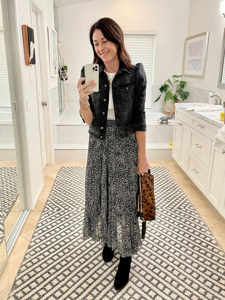 Wearing my new favorite Dolly Western boot from Freda Salvador - I'm wearing true to size but you can size up 1/2 for a little more toe room. (CODE: CONNI15 for 15% off) Jacket is the Ada Denim jacket from Shopbop (size up! It fits small) Skirt is @threadandseed but I linked  a few similar pieces (CODE: ARTINTHEFIND10 for 10% off at thread and seed)  Bag is Clare V   #cowboyboots #maxiskirt #falloutfit  #LTKSeasonal #LTKtravel #LTKstyletip