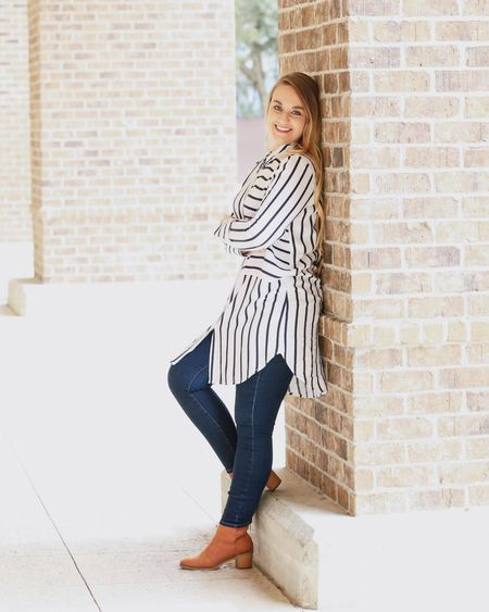 Stripes are here to stay...on my feed and on the shopping racks! ❤️ Lots of patterns to be excited about this year that will be popping up in stores!   📷@Katie_BeePhoto  What pattern are you looking forward to the most this year? I can't decide!   #WorkToWeekend #WaysToWear ____________________________ For work: Pair this button down with colorful or navy dress pants. Also try tucking in a long shirt.   For weekend: Wear with dark denim or navy leggings. Or, wear unbuttoned as a layering shirt.    Screenshot this pic to get shoppable product details with the LIKEtoKNOW.it app OR head to CentsibleBlonde.com & click this pic! Link In Bio!     http://liketk.it/2AgxT #liketkit #LTKunder50 @liketoknow.it #LTKunder100 #LTKshoecrush #LTKsalealert #LTKstyletip