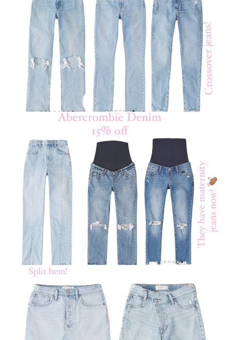 Abercrombie jeans, Abercrombie denim, crossover jeans, split hem jeans, maternity jeans   #LTKsalealert #LTKunder100