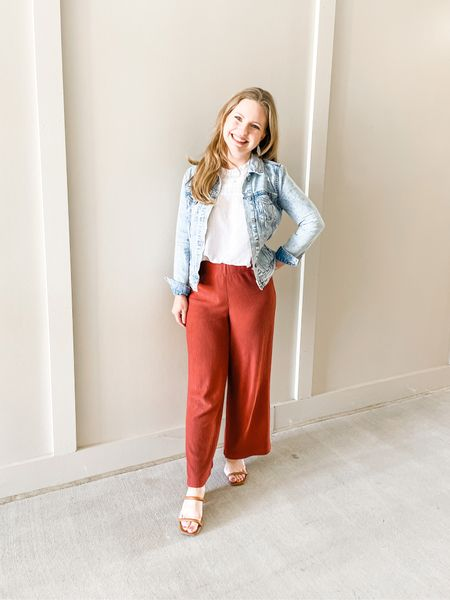 Wide leg lightweight knit pants- wearing a XS Regular. S Petite in the white ruffled shell and an XS in the denim jacket (jacket is just slightly tight in shoulders).  #LTKSeasonal #LTKunder100 #LTKstyletip
