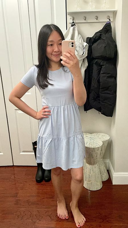 """Tiered tee short dress is shown in my usual size XXS. The shoulders, sleeves and chest run smaller/narrow so I recommend sizing up for comfort. Thin material is perfect for the summer. I'm 5' 2.5"""" and currently 113 pounds.   #LTKunder50 #LTKsalealert #LTKSeasonal"""