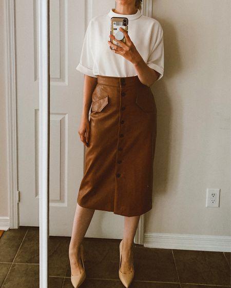 Faux leather skirt & flows too fall style   http://liketk.it/2FrGV #liketkit @liketoknow.it #LTKeurope #LTKworkwear