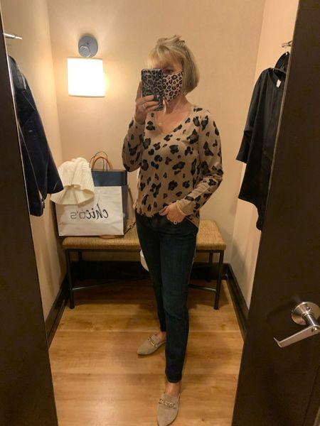Leopard print sweater and slimming girlfriend jeans!   #LTKworkwear #LTKSeasonal #LTKunder100