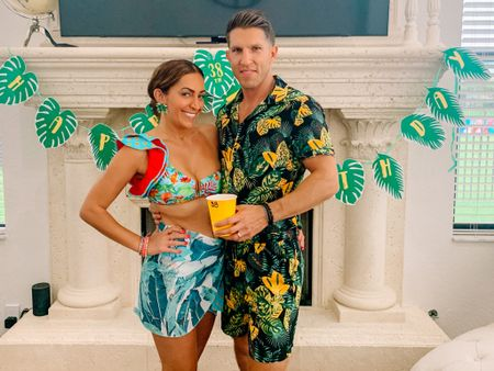 #palmbeach vibes for the hubby's 38th were such a blast! Absolutely loving this Telalura brand 2 piece bikini and Palm sarong! The hubby was looking fly in his 2 piece palm outfit that was quite the hit! 🌴😂 #ltklaborday #ltkseasonal #competition   #LTKcurves #LTKswim #LTKfamily
