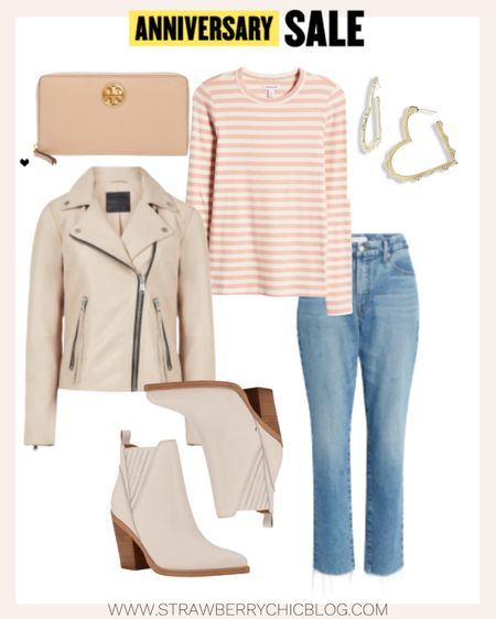 A leather biker jacket is a great fall basic that will last you for years to come. Pair with creamy booties and raw hem jeans for a chic casual look.   #LTKstyletip #LTKSeasonal