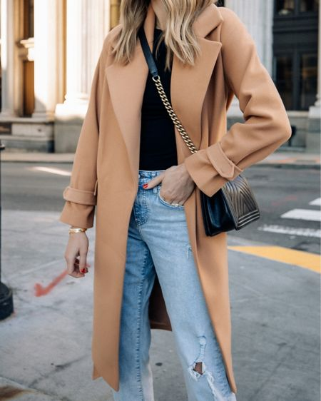 Camel coat season. Love this one from express. Fits tts wearing an xs #camelcoat #express #falloutfits   #LTKstyletip #LTKunder50 #LTKunder100