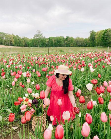 Flower field, Hunter short boots, pink spring dress   http://liketk.it/3fw2Z #liketkit @liketoknow.it #LTKunder50 #LTKunder100