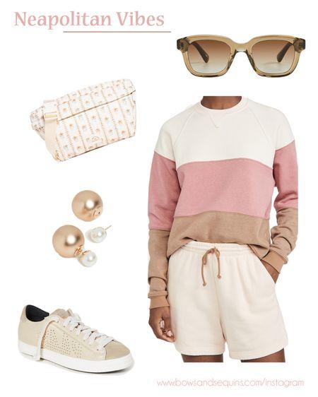 Love this mix of creamy neutrals and soft pastels! 🤎🤍  #shorts #athleisure #sneakers #fannypack   #LTKstyletip #LTKSeasonal #LTKshoecrush