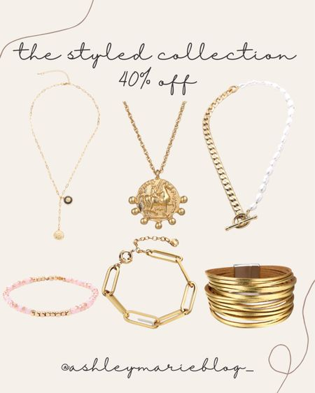 The styled collection designer inspired jewelry for an affordable price! Makes great gifts too. Chunky necklaces and bracelet stacks.   #LTKHoliday #LTKSale #LTKGiftGuide