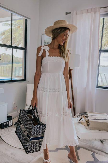 White maxi dress , Amazon dress , romantic style, straw hat, white sandal, summer dress, summer sandal, Dior tote bag   #LTKitbag #LTKstyletip #LTKtravel