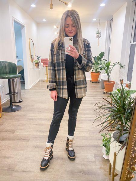 Stole my boyfriends shacket 🖤🤎 Styled with shearling boots, waxed jeans, and a turtleneck. Simple but stylish!   #LTKSeasonal #LTKmens #LTKshoecrush