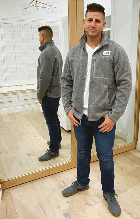 #nsale north face men's jacket men's jeans men's white tee all in the Nordstrom anniversary sale. Best tees $20 off!   #LTKmens #LTKsalealert #LTKunder100