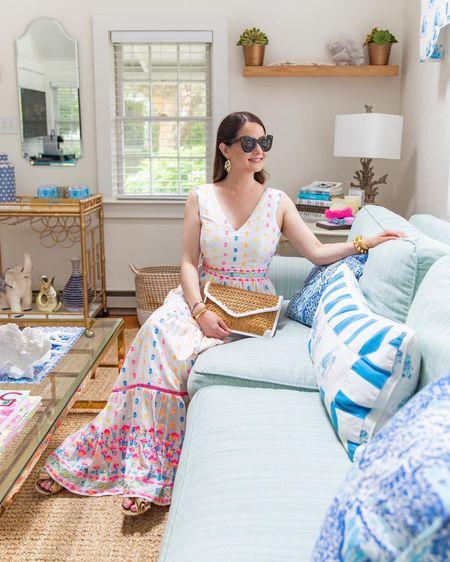 A colorful dot print Lilly Pulitzer dress and woven clutch on Nantucket @liketoknow.it http://liketk.it/3jPGv #liketkit #LTKstyletip #LTKsalealert #LTKunder100