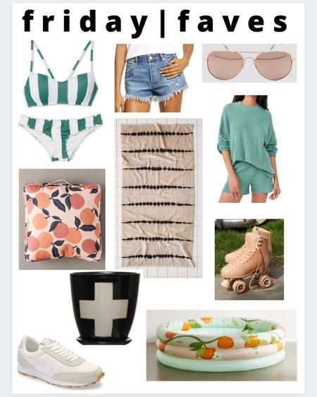 Friday faves!  1.) I'm loving this color green lately! Loving the retro vibes this suit puts off  2.) my fave free people shorts! I have these in two different color denim's and best part , they're half off right now!  3.) rose gold aviators  4.) along with loving this orange + green combo I'm also loving al things citrus right now for spring/summer . How cute is this floor cushion? 5.) cute neutral beach towel  6.) here's the green again! Loving this sweater set for lounging around. Got this for our beach vacay next month  7.) how cute are these retro roller skates?? 8.) also loving this Swiss cross pattern now. This matches my pillow I linked last week.  9.) the cutest neutral tennis shoe  10.) green + orange + citrus again! Loving this adorable blow up pool http://liketk.it/3hkjK #liketkit @liketoknow.it #LTKsalealert #LTKunder100 #LTKhome