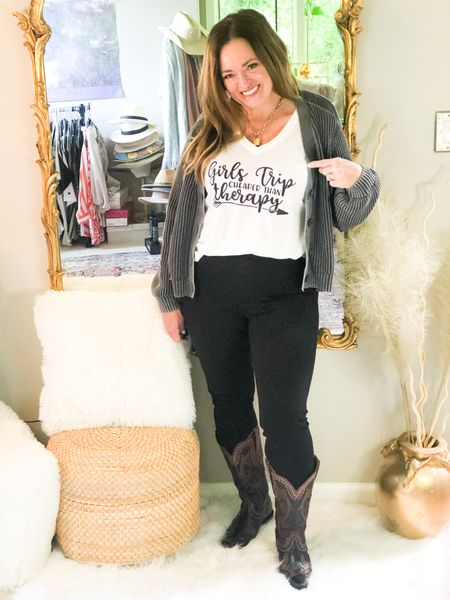 Girls Trip! Cheaper than therapy! Me and my GFs are getting this tee for our annual Girls Trip!  #gifted from @liliclothofficial  use code JOYB20 I paired it with my high quality black pull on jean leggings and acid wash Cardigan. Added my @JBdillon cow girl boots ( purchased on my Nashville trip)! Linked similar boots.  Join me and my friends for #FashionFriday  @kandidlykim @mymidlifestylist @fashionablyfifty @gwenliveswell @jaxvegancouple @joyousstyling @deborahsorlie @roomtoveuve @patrishpages @melaniespickett @seechele_styles @brigittemarieforet @lynnettiu @overfiftyandblessed @robinlamonte @distinctlysouthernstyle     . . . . . http://liketk.it/3fDhH #LTKtravel #LTKshoecrush #LTKstyletip #liketkit @liketoknow.it.family @liketoknow.it Download the LIKEtoKNOW.it shopping app to shop this pic via screenshot