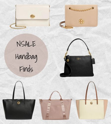 Nordstrom Anniversary Sale handbag finds: Coach ivory Marlow leather crossbody bag, Tory Burch tan Cason convertible leather crossbody bag, Coach black pebble leather crossbody bag, Tory Burch black Carson leather tote bag, Ted Baker pink Naahla large tote, and Tory Burch Carson color block leather tote💗 #nsale    #LTKitbag #LTKtravel #LTKsalealert