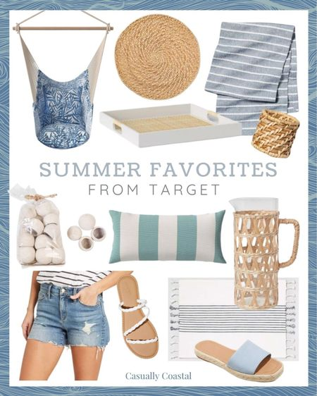 """Loving all of the cute and affordable summer decor and clothing right now at Target!  @liketoknow.it @liketoknow.it.home #liketkit #LTKhome #LTKunder50 #LTKshoecrush http://liketk.it/3hcbB  summer decor, summer decorations, summer home decorations, coastal decor, beach house decor, beach decor, beach style, coastal home, coastal home decor, coastal decorating, coastal house decor, home accessories decor, coastal accessories, beach style, blue and white home, blue and white decor, beach vacation outfits, summer fashion, affordable home decor, target decor, target home, summer tablescape, summer table decor, table runner, target decor, target home, blue and white tablescape, blue and white table runner, striped table runner, striped placemats, placemats with fringe, distressed jean shorts, distressed cut off shorts, distressed cutoffs, 4"""" cutoff, 4"""" denim short, target fashion, target summer, coastal tray, decorative trays, cane trays, tray with handles, rattan trays, white decorative tray, tablescape ideas, tablescapes neutral, coastal table decor, coastal dining room, tablescape farmhouse, coastal farmhouse decor, coastal table setting, coastal tables, chargers, jute chargers, chargers plates, woven napkin ring, napkin rings, strappy sandals, affordable sandals, white sandals, slide sandals, espadrilles, espadrilles sandals, target sandals, decorative bowl filler, vase filler, pitcher vase, pitchers, coastal kitchen decor, indoor outdoor, outdoor entertaining, outdoor dining, bell cups, hearth and hand magnolia, hammock chair, hammock chair swing, outdoor hammock chairs,  indoor/outdoor pillows, deck decor, deck pillows, patio decor, front porch decor, summer outdoor decor, blue and white pillows, blue & white pillows, spring throw pillows, throw pillows couch, throw pillows bedroom, blue and white lumbar pillows, lumbar pillows, affordable pillows"""