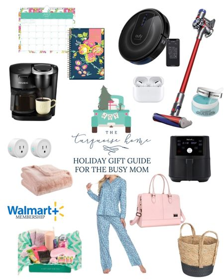The best gifts for busy moms! A mama's job is hard. Whatever the season of her life, give her a time-saving gift that make her life easier, or a much-deserved pampering treat! Ideas like cozy pajamas, stick vacuum, robot vacuum, smart plugs, Keurig coffee maker, hydra gel eye patches, laptop bag, care crate, storage basket, daily planner, monthly wall calendar, AirPods and more!!  #LTKGiftGuide