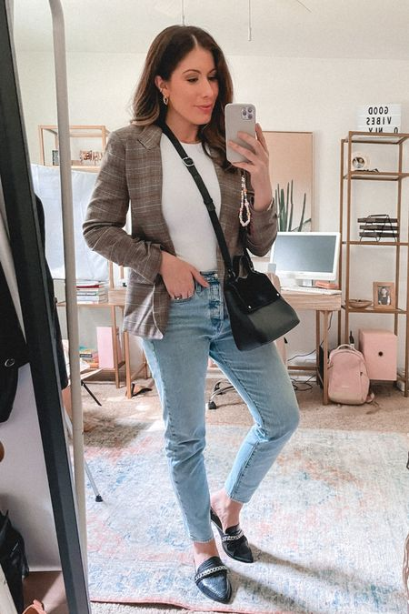 Fall workwear, fall style, fall outfits   These staples are no longer available but I've linked a few similar in related.  Black mules, plaid blazer and a satchel purse for fall.   #LTKSeasonal #LTKworkwear #LTKstyletip