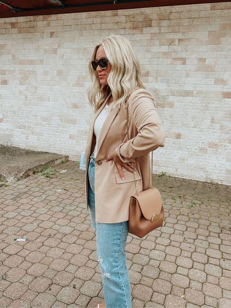 Camel blazer for fall with Abercrombie jeans, love this amazon find & white tank!   #LTKunder100 #LTKSeasonal #LTKstyletip