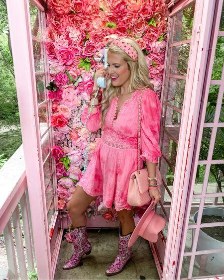 http://liketk.it/3jJON #liketkit @liketoknow.it #LTKsalealert #LTKunder100 #LTKunder50 LoveShackFancy fancy dress - linked similar size 8!  Can't link cowboy boots  Amazon pink headband  Pink fedora  Pink quilted purse  Pink bracelet stack -20% off until this Friday!