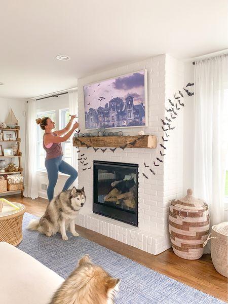 Halloween, bats, fireplace, mantel, coastal, living room, family room  #LTKHoliday #LTKhome #LTKSeasonal