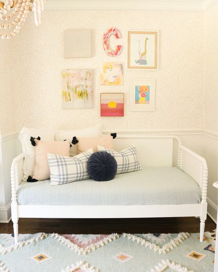 How to make a daybed, throw pillows for bed, daybed pillows, girls bedroom, floral bedroom wallpaper, boho rug, tassel chandelier, pink and blue bedroom  http://liketk.it/3gDnL #liketkit @liketoknow.it @liketoknow.it.home #LTKhome #LTKkids