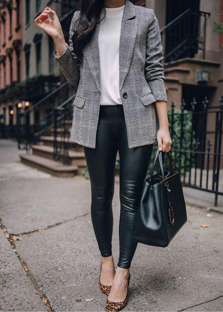 Plaid blazer (XS), similar mock neck tank, faux leather leggings (XS), similar leopard pumps.  Work outfit, fall style, blazer outfit, Amazon fashion, Amazon finds, business casual.   #LTKstyletip #LTKunder50 #LTKworkwear