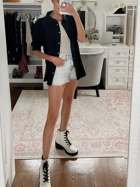 Fall transition outfit with jean shorts (mom shorts), high neck ribbed tank top from Shein, gold necklace, white combat boots  #LTKstyletip #LTKunder50 #LTKshoecrush