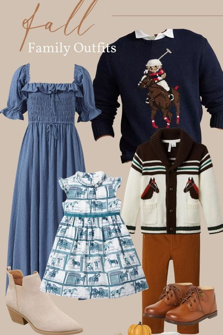 Outfits for the whole family for fall pictures! I love this blue dress I ordered from Amazon and this little girl blue and white horse print dress from Janie & Jack. I wanted to stay with the equestrian theme for the boys outfit and the men's Ralph Lauren Polo sweater.   #LTKfamily #LTKSeasonal #LTKHoliday