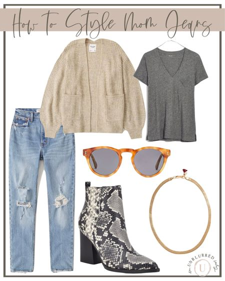 How to style mom jeans! Love this fall outfit idea for women!   #LTKFall #LTKstyletip #LTKunder100