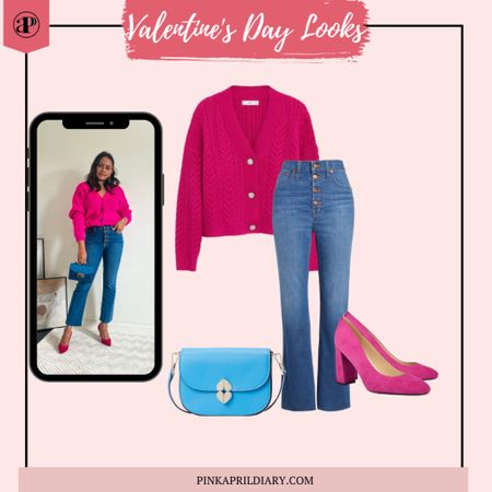 Casual yet chic Valentine's fat look 3 with a cropped flare jeans and magenta cardigan http://liketk.it/37mmj #liketkit @liketoknow.it