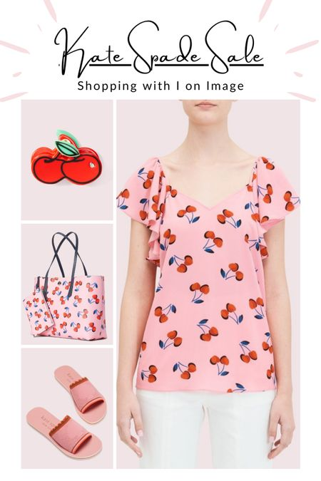 Very cherry sale picks from Kate Spade summer collection 🍒🍒🍒 Tote set, flutter sleeve top both with cherry print, cherry hair clip and knitted pool slides 🍒🍒🍒  #LTKstyletip #LTKitbag #LTKsalealert