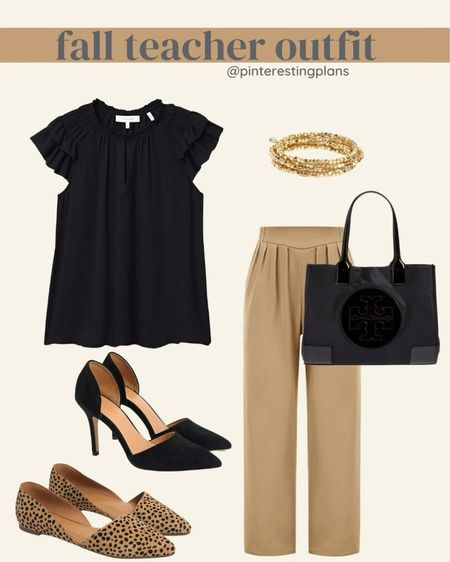 Teacher outfit. Workwear. Pants and top are amazon finds.