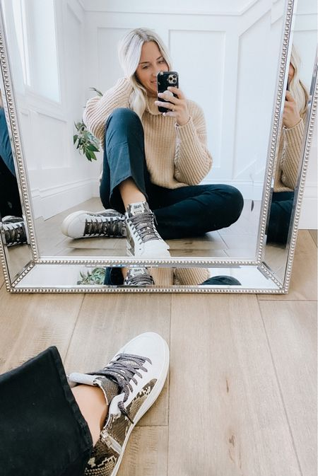 New fall styles! Cozy sweaters, bootcut crop jeans and high top sneakers.   Tan sweater, mom outfit, fall outfit, capsule wardrobe, neutral wardrobe.     #LTKstyletip #LTKsalealert #LTKunder100