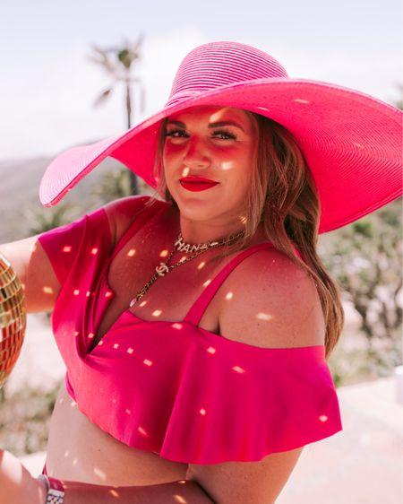 pink curvy bikini 💖👙 wearing the size 1X in top and bottom! runs small, size up. use code SARAHJUNE15 for 15% off! http://liketk.it/3hj7f #liketkit @liketoknow.it #LTKcurves #LTKswim #LTKunder50