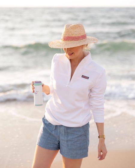 Beach day favorites, shep shirt, chambray shorts, & straw hat  #LTKswim