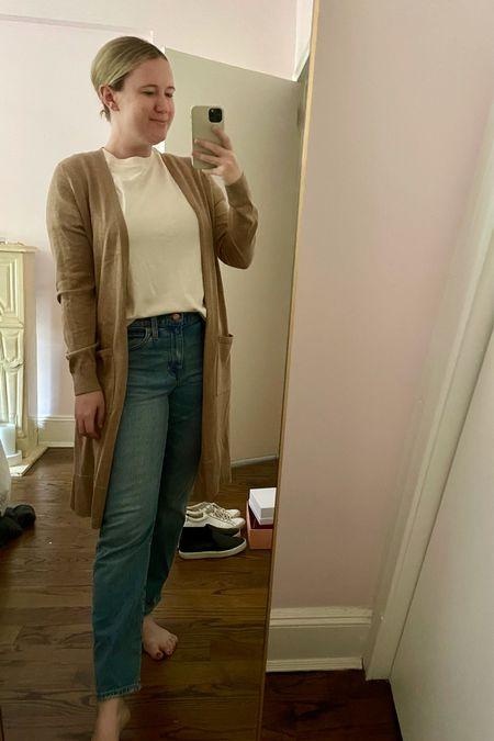 Long cardigan Lightweight cardigan Boyfriend jeans J.Crew jeans (27) Tee Casual outfit Easy fall outfit   #LTKunder50 #LTKSeasonal