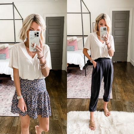 You can easily dress this linen tee down with joggers or up with a skirt! Both looks are on sale. Tee fits oversized!   #LTKsalealert #LTKDay #LTKstyletip