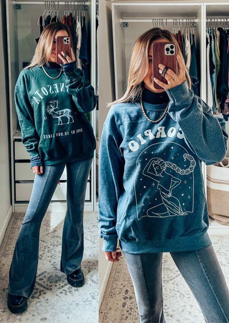 Today's sweatshirt! Zodiac and graphic sweatshirts, wearing M for oversized fit, s in everything else!     #LTKunder100 #LTKsalealert #LTKGiftGuide