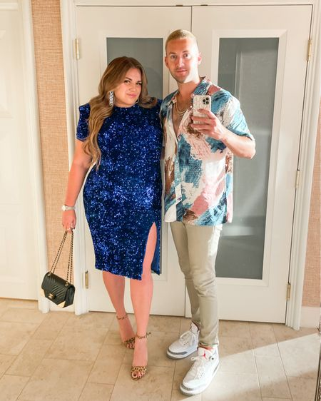 holiday couples style! wearing a size xl in my blue sequin dress and robbie is wearing the size large in shirt   #LTKHoliday #LTKcurves #LTKmens