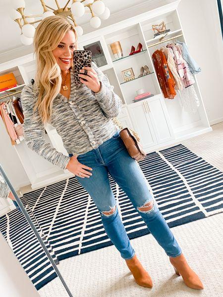Wearing a size medium sweater. Jeans run TTS.
