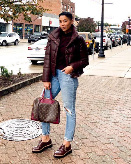 Faux leather mini puffer Faux leather jacket Abercrombie Mom jeans  http://liketk.it/2XZvP #liketkit @liketoknow.it