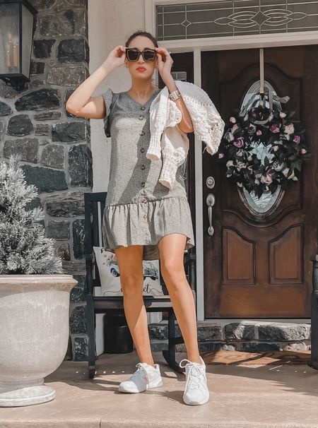 Spring ready- spring wreath, peony wreath, spring dress, sheIn dress, white sneakers, diff sunglasses, oversized sunglasses, porch decor, porch rocking chair, Etsy finds   #LTKSeasonal #LTKhome #LTKunder100