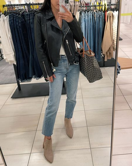 Still in stock Sale finds: Allsaints Balfern leather jacket size 0 (00 fits me best). This is a shrunken fit leather moto jacket that is petite friendly! Great quality leather. Jeans are levis 24 with hems cut, booties are old Steve Madden  http://liketk.it/3kxRg #liketkit @liketoknow.it #nsale #nordstrom