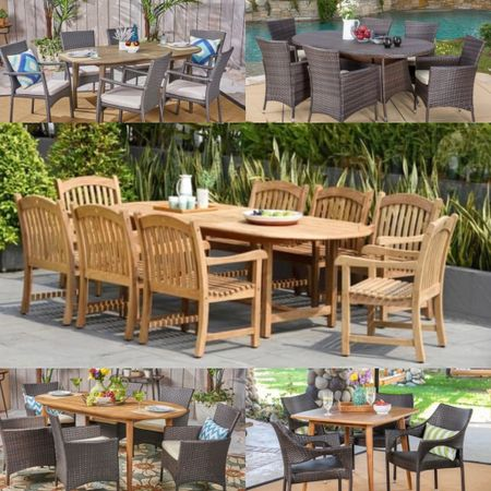 Memorial Day Deal—these durable solid teak and rattan outdoor patio dining sets are great hosting friends and family.  #LTKhome #LTKsalealert