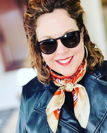 Spring equals sunny skies but still chilly temps. Don't put that jacket up just yet. But add a colorful scarf with a pop of color to make you feel like it's warm and finish the look with some sassy sun glasses. http://liketk.it/39He4 #liketkit @liketoknow.it You can instantly shop my looks by following me on the LIKEtoKNOW.it shopping app