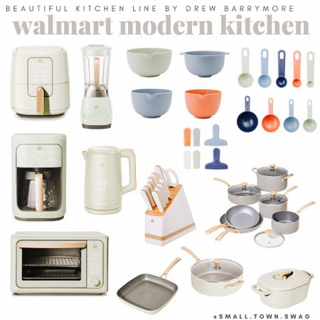 New modern Walmart kitchen find by Drew Barrymore!  Appliances come in light green, gray, black and white, with gold accents! . . . . . . Kitchen // kitchen gadgets // appliances // kitchen appliances // drew Barrymore Walmart // Drew Barrymore beautiful line // Walmart home // bowls // bowl // mixing bowls // mixing bowl // measuring cup // measuring cups // measuring spoon // measuring spoons // toaster // air fryer // blender // toaster oven //coffee maker // knife block // pots and pans // Dutch oven// kitchen pans // frying pans // pot // pots // knives // modern kitchen // toaster // cookware   #LTKunder50 #LTKunder100 #LTKhome